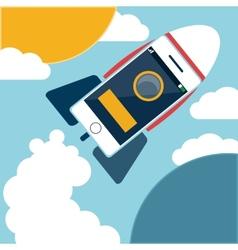 Space rocket flying in sky vector image vector image