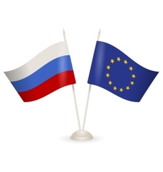 Table stand with flags of Russia and European vector image vector image