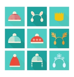 Carnival hats set in flat style vector image