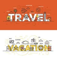 Flat design line concept banner Travel vector image vector image