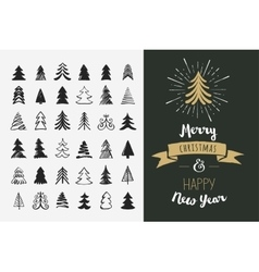 Hand drawn Christmas tree icons and elements vector image vector image