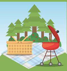 picnic grill basket blanket forest tree vector image