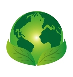 Planet world green leaves leaf icon vector image
