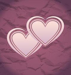 Valentines Day vintage background with hearts vector image