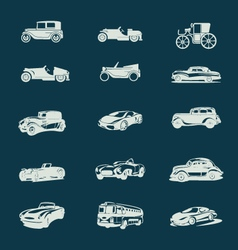 vintage cars icons set vector image
