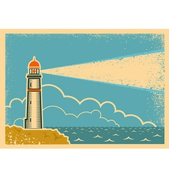 Vintage Poster with Lighthouse vector image vector image