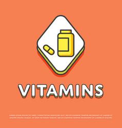 vitamins colour icon in line design vector image