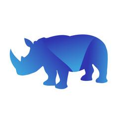 wild rhino animal jungle pet logo silhouette of vector image vector image
