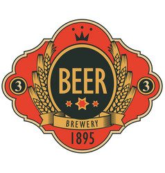 beer label with coat of arms ears of wheat vector image vector image
