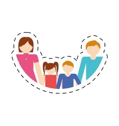 Family together members traditional cut line vector