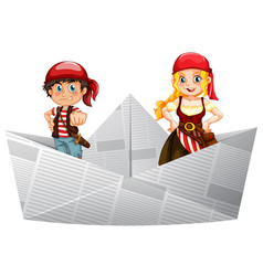 pirate crews standing on paper boat vector image