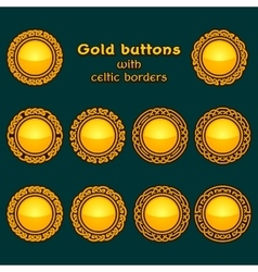 set of ten golden celtic knotwork buttons vector image vector image