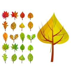 Set with different stylized trees vector image