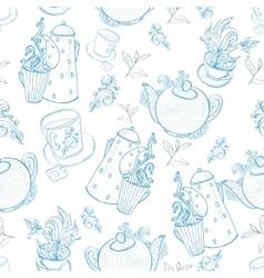 vintage tea porcelain seamless pattern vector image