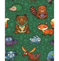 Woodland annimals seamless pattern vector image
