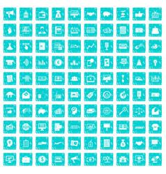 100 e-commerce icons set grunge blue vector