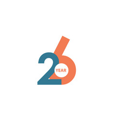 26 year anniversary template design vector