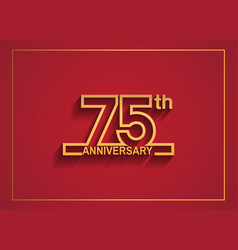 75 anniversary design with simple line style vector
