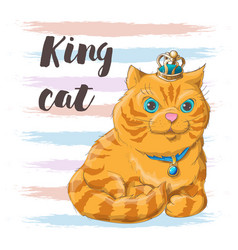 a cat in a crown on his head vector image