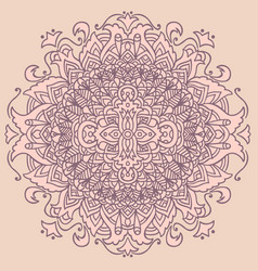 Abstract mandala ornament on pink background vector