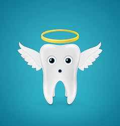 Angelic tooth with wings and a halo vector