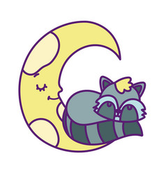 bashower cute raccoon sleeping half moon vector image
