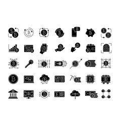 bitcoin cryptocurrency glyph icons set vector image