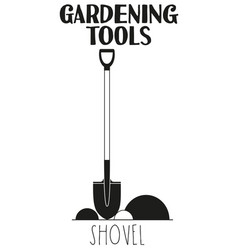 black and white shovel silhouette vector image