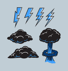 Black cloud and bolt collection vector