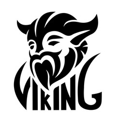 black simple logo with viking vector image