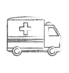blurred silhouette image cartoon ambulance truck vector image