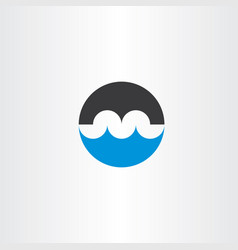 bridge and water wave logo letter m icon vector image