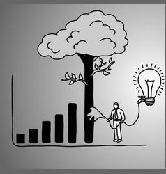 Businessman make graph bar tree higher vector