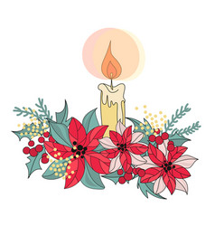 Candle merry christmas color vector