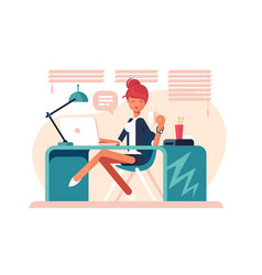 Cartoon girl sitting at workplace vector