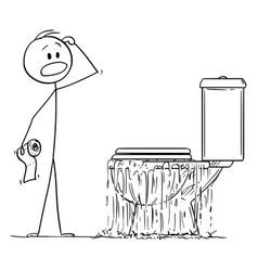 Cartoon stressed man looking at overflowing vector