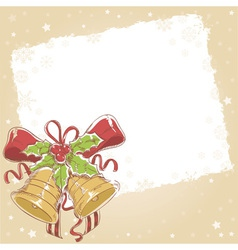 Christmas hand drawn postcard with jinge bells vector image