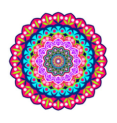 Colorful mandala on doodle style vector
