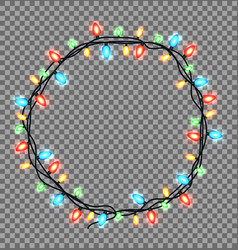 colorful round frame of christmas lights sparkling vector image