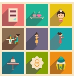 Concept of flat icons with long shadow womens Day vector