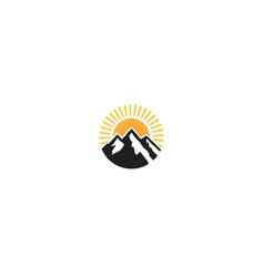 creative mountains sun logo vector image