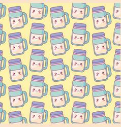 cute beverage jar kawaii characters pattern vector image