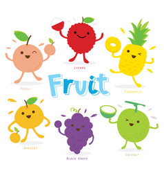 cute fruit cartoon vector image