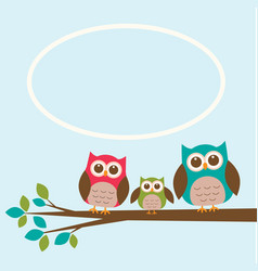 cute owl family on branch with place for text vector image vector image