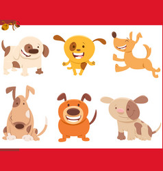 dogs or puppies cartoon pets set vector image
