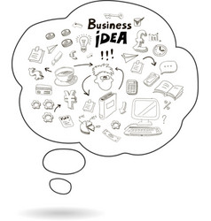 Doodle speech bubble icon with business idea vector