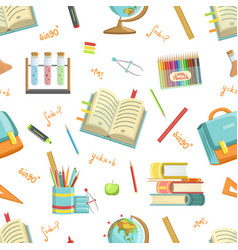 education seamless pattern with school supplies vector image
