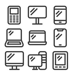 electronic devices icons set on white background vector image