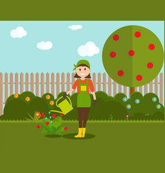 Farmer gardener woman with watering can and vector