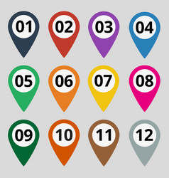 flat map markers with numbers vector image